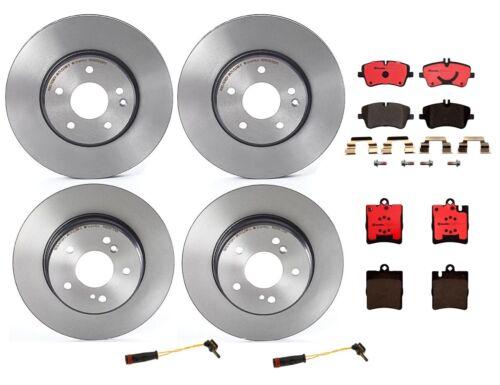 Front /& Rear Brembo Brake Kit Disc Rotors Ceramic Pads Sensors For Mercedes C203