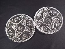 "Set of 2 round pressed glass drink coasters scalloped rim hobstar 3.75"" wide"