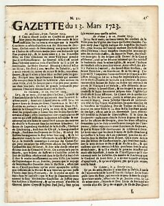 1723-March-13-Original-French-Gazette-with-news-from-London-Paris-and-more