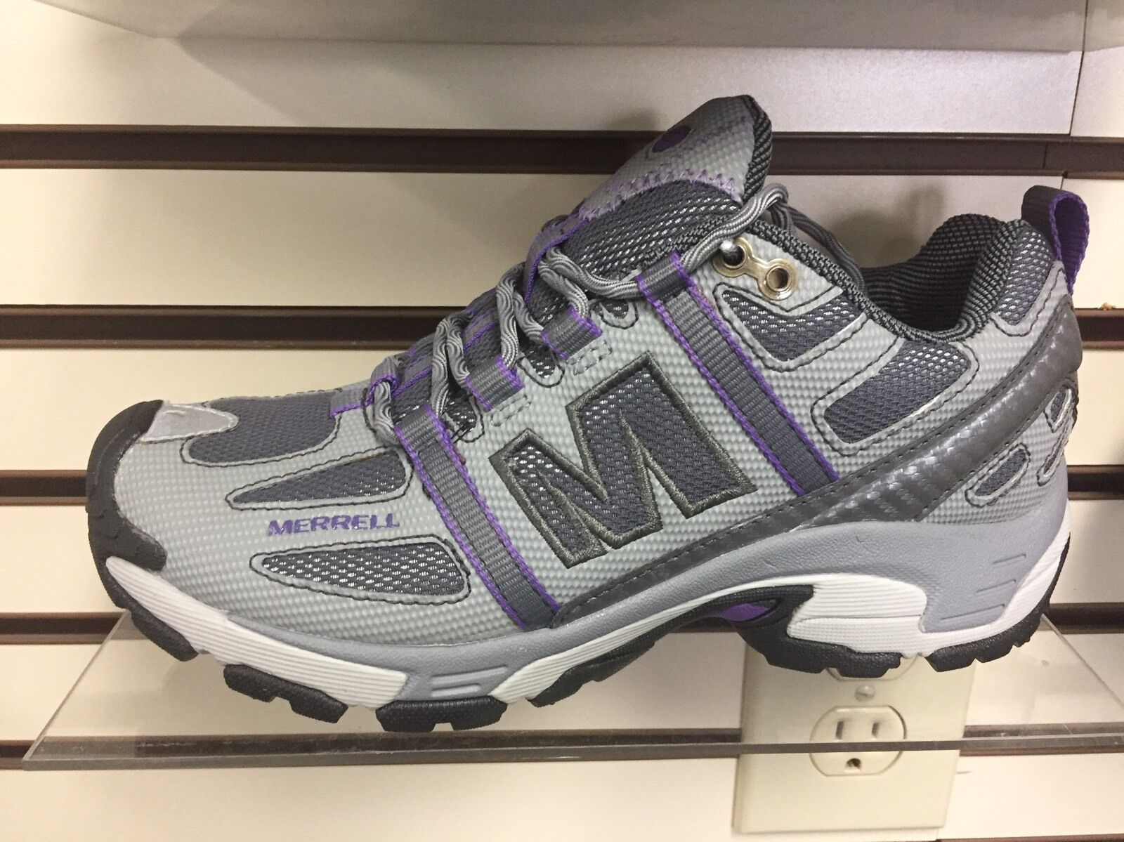 MERRELL Excel Grid WOMEN'S TRAIL RUNNING SHOES SIZE 6 M Smoke/purple Heart