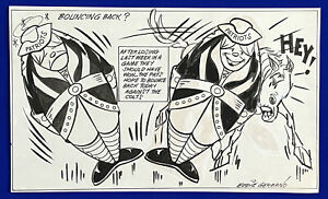 1970-039-s-Patriots-vs-Colts-034-Bouncing-Back-034-11x18-Original-Cartoon-Art-by-Germano