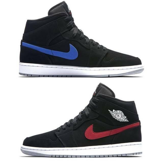 Nike Air Jordan 1 Retro Mid SZ 10 Black Red bluee Multicolor Swoosh 554724-065