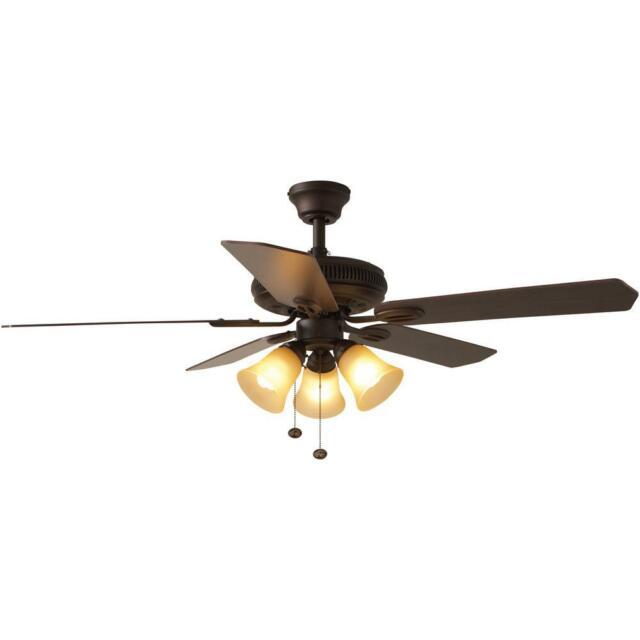 Indoor Ceiling Fan W Light Best Value Hampton Bay 52in Large Room Bronze New