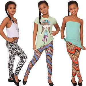 Estate-Bambini-Leggings-Pantaloni-Righe-Aztec-Look-Quadri-Paisley-00