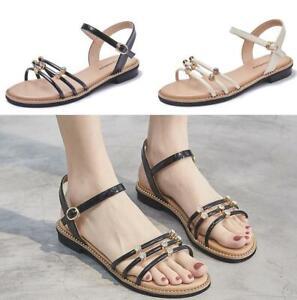 Womens Rhinestone Flats Slingback Sandals Shoes Non-slip Open Toe Buckle Stylish