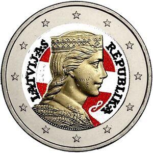 Lettland-2-Euro-Muenze-Trachtenmaedchen-Milda-in-Farbe
