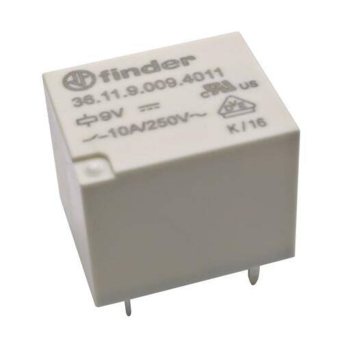Finder 36.11.9.009.4011 relés 9v dc 1xum 10a 225r 250v ac Relay Print 855035