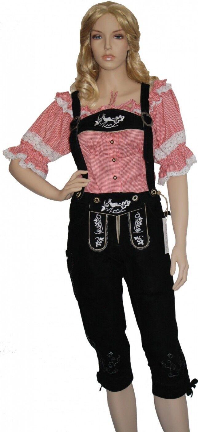 German Wear, Damenlederhose Trachten Lederhose aus aus aus Ziegenvelour Schwarz Weiß | Speichern  | Ausgezeichnet  | Ab dem neuesten Modell  9e90dd
