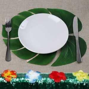 12X-Kuenstliche-Lotusblatt-tropische-Palmenblaetter-hawaiianischen-Sommerfest-J5O8