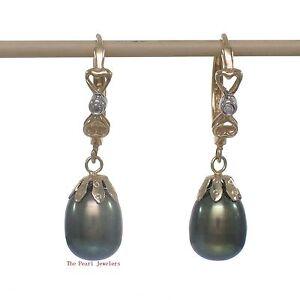 14k White Solid Gold Sparkling Diamond; Black Cultured Pearl Dangle Earrings TPJ