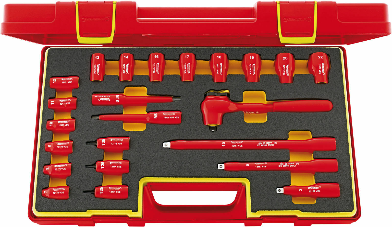 Stahlwille VDE SOCKET SET 3 8  WITH QUICKRELEASE 96022020 Set with  23 Psc. 1217