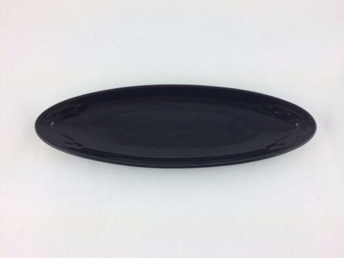 Longaberger Pottery Long Oval Tray Appetizer Dish Ebony Black
