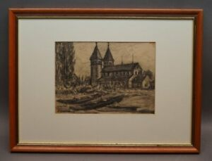 Walter Romberg (Ulm 1898 - 1973 Stuttgart) - Insel Reichenau Bodensee Zeichnung