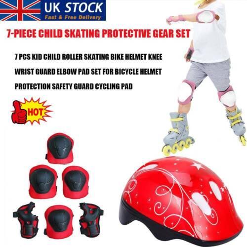 7Pcs//Set Boys /& Girls Kids Skate Cycling Bike Safety Helmet Knee Elbow Pad UK.