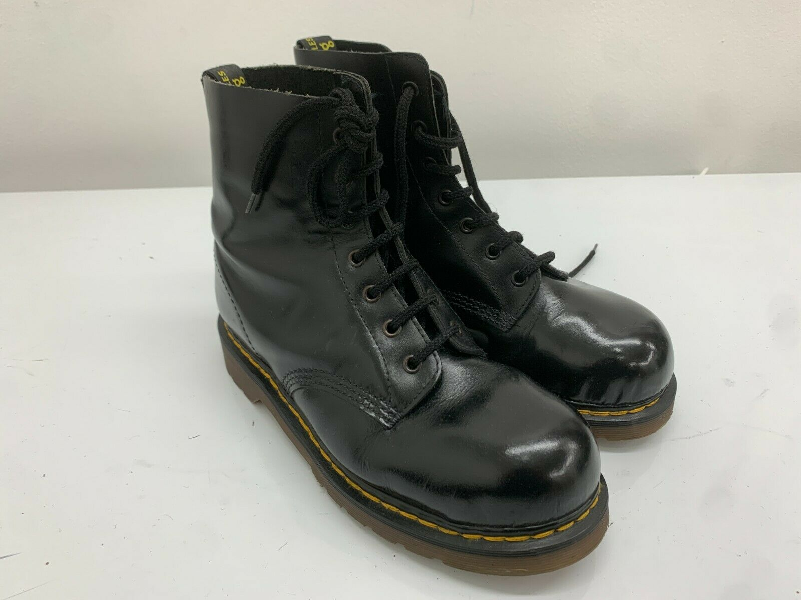 Doc Dr Martens Boots 7 Eyelets Black, Size 8UK, Steel Toe Caps, Made In England.