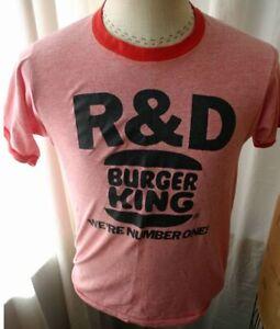 Vintage-BURGER-KING-R-amp-D-Red-Ringer-T-Shirt-1980s-M