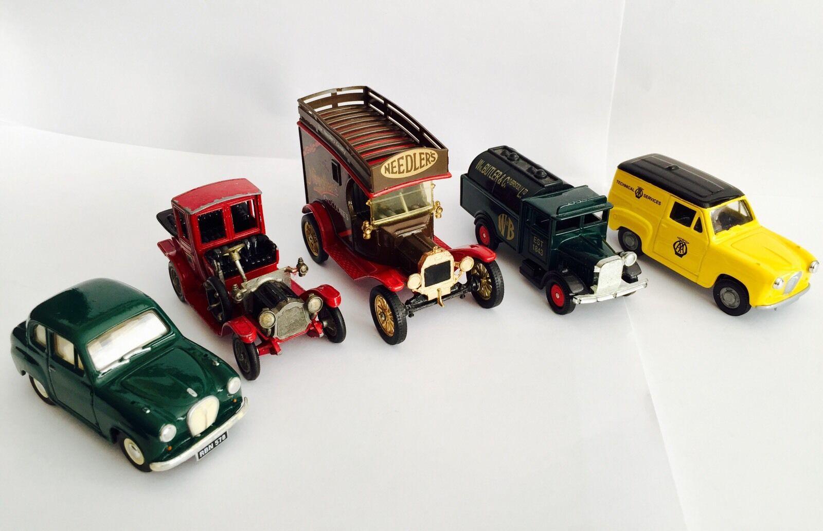 5 Vintage DIE-CAST MODELO COCHES incluso Packard Landaulet (Corgi y otros hace)