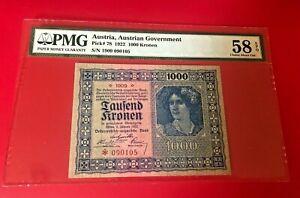 1922-AUSTRIA-AUSTRIAN-GOVERNMENT-1000-KRONEN-PMG-58-EPQ