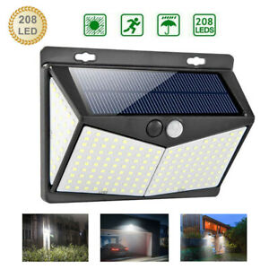 208-LED-ENERGIA-SOLARE-luce-sensore-mov-PIR-PARETE-DA-GIARDINO-ESTERNO-LAMPADA-US