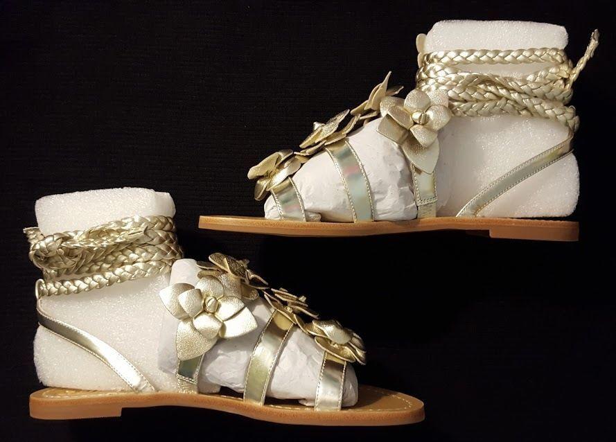 ny  295 Tory Burch BLOSCOM Gladiator Sandaler Spark guld läder Wrap 6.5 7 NIB