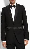 Light Medium Weight Mens Black Tuxedo Suit 4 Prom Wedding Red Carpet Groom