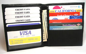 New-Bi-Fold-Leather-Credit-Card-Holder-ID-Wallet-S6748-Black-Brown-Tan