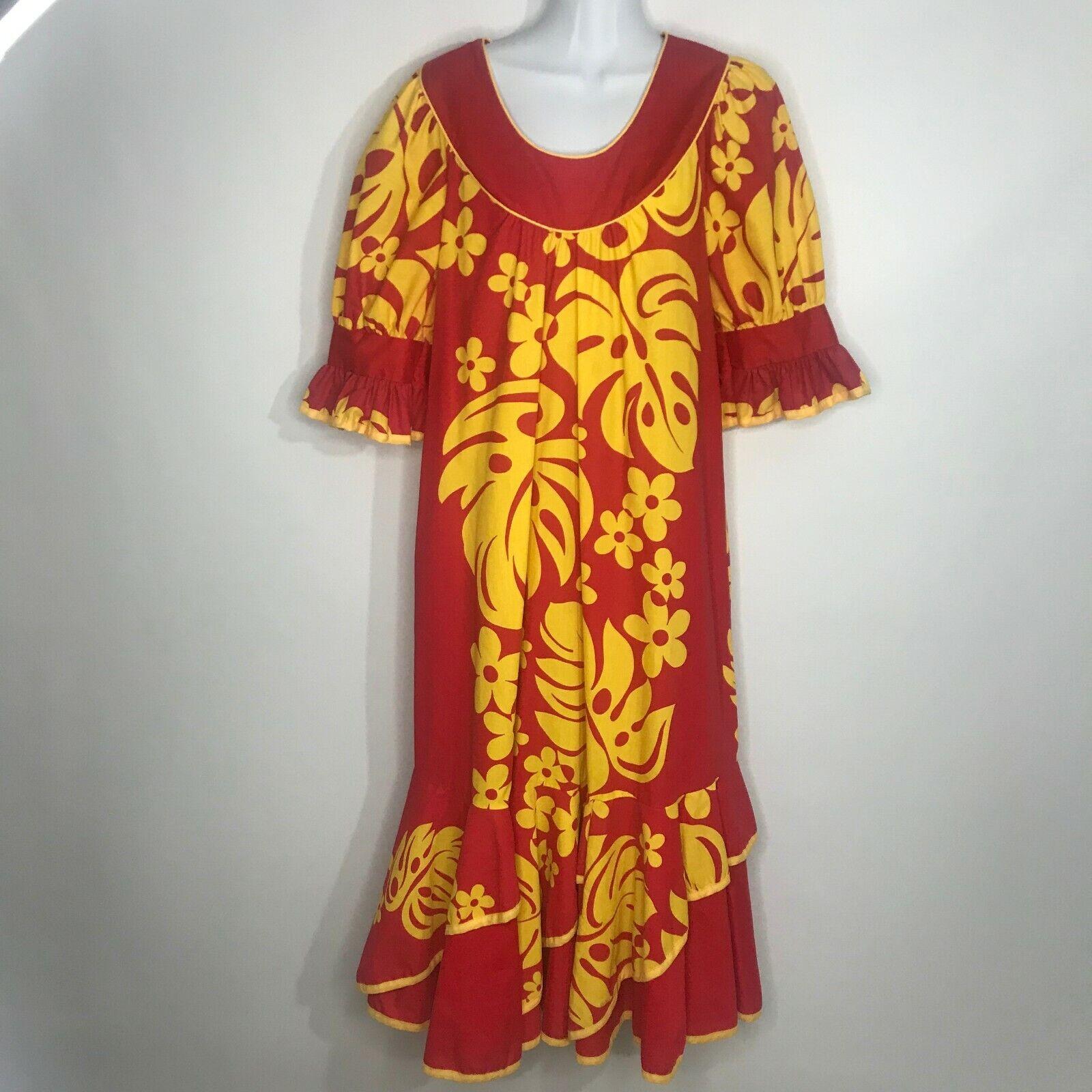 Winnie Fashions Hawaiian Muumuu Muu Muu M BRIGHT rot Gelb Floral Aloha USA