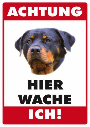 Achtung Hund Rottweiler Blechpostkarte Blechschild Schild Blech 10,5 x 14,8 cm
