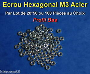 LOT-DE-20-50-OU-100-ECROUS-HEXAGONAL-M3-ACIER-PROFIL-BAS
