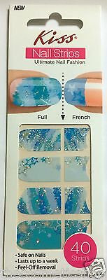 Kiss Nail Stick on Applique Strips French or Full 40 Strips # DMT 174 Stars