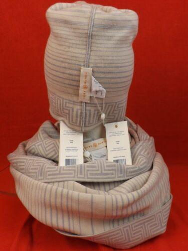 e140c84a209 10 of 12 Nwt Tory Burch Heather Gray Striped Merino Wool Logo Infinity Scarf    Hat Set