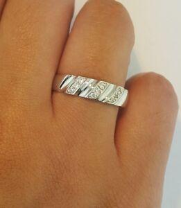 5.2 MM Diamond Solid White Gold 14k White Gold Men/'s Wedding band 0.50 Ct