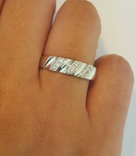 5.2 MM Diamond Solid White Gold 14k White Gold Men/'s Wedding band 0.50 Ct