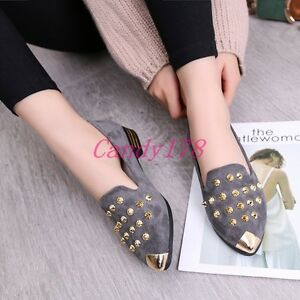 Fashion-Punk-Womens-Casual-Rivets-Pointy-Toe-Loafers-Low-Heels-Student-Shoes-New