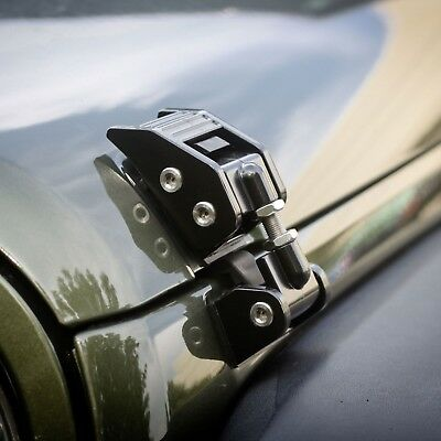 Rugged Ridge 11210.11 Black Aluminum Hood Catch Set Pair for 2007-2018 Jeep Wrangler JK and JKU
