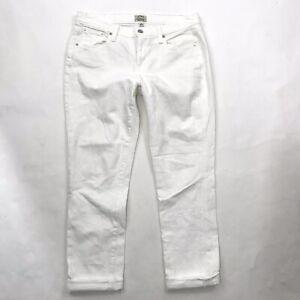 J-Crew-Jeans-Size-27-Womens-Slim-Broken-In-Boyfriend-White-Denim-Crop-Stretch