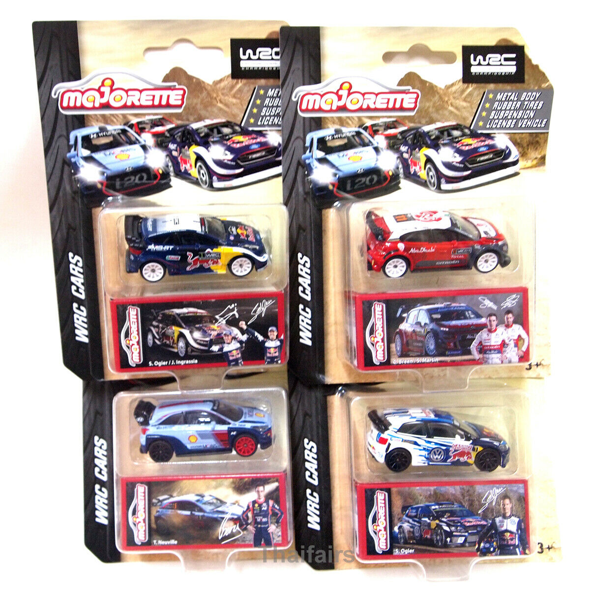 WRC Full set of 4 Complete Majorette [RED BULL FORD FIESTA, HYUNDAI i20 COUPE]