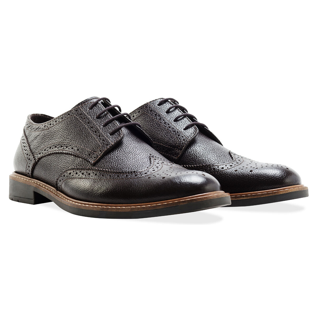 Redfoot Leather Embossed Gibson Brogue Brown Lace Up Mens shoes UK 7