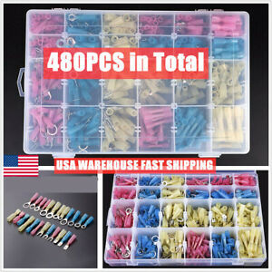 250PCS Heat Shrink Wire Connectors Assortment Crimp Terminals Marine Case Kit