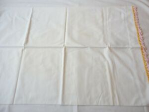 Pillowcase 1 Vintage 1950's  White Muslin Pillowcase w Crochet Edge 100% Cotton