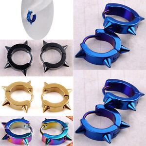 Titanium-Steel-Punk-Rivet-Ear-Studs-Spike-Hoop-Huggie-Piercing-Earrings-EF