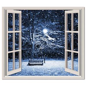 Winter Scene 3d Window Wall Sticker Snowy Trees Wall Decal Bedroom