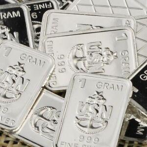 Lot-30-X-1-Gram-999-Fine-Silver-Bar-Bullion-USN-WPT384-oz