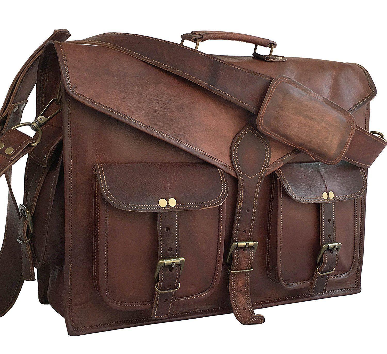 Ziegenledertasche Ziegenledertasche Ziegenledertasche Herren echte Vintage Messenger Bag Schulter Laptop Aktentasche | Die Qualität Und Die Verbraucher Zunächst  78c413