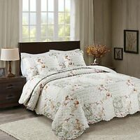 Printed Floral Vintage Patchwork Quilted Bedspread Throw & 2 Pillow Shams