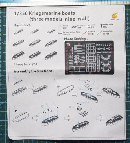 Veryfire PE 1//350 Kriegsmarine boats three models,nine in all DKM05