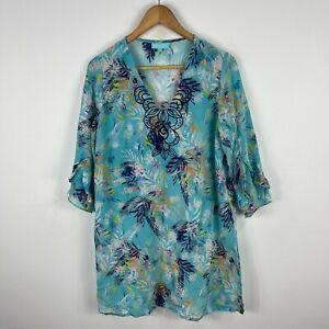 Blue-Illusion-Silk-Dress-Medium-Blue-Floral-3-4-Sleeve-Tunic-Smock