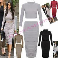 NEW WOMENS LADIES CELEBS INSPIRED POLO NECK CROP TOP BODYCON SKIRT DRESS SET