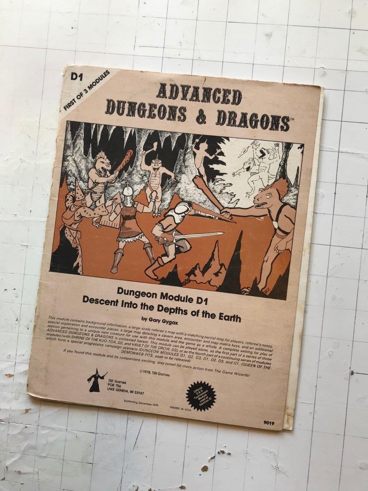 1979 TSR AD&D D1 DESCENT into DEPTHS of the EARTH MODULE 9019 3RD D&D gygax gary