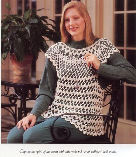 "Shell Pullover Vanna Crochet Pattern//Instructions Leaflet SZ 36/"" to 48/"""